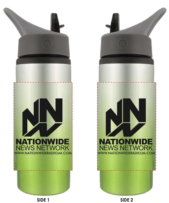 25 oz. Ombre Aluminum Water Bottle - Silver with Lime Green