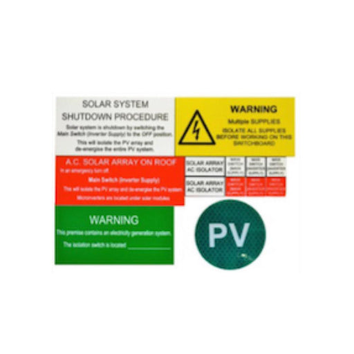 Microinverter system label kit - Main switchboard