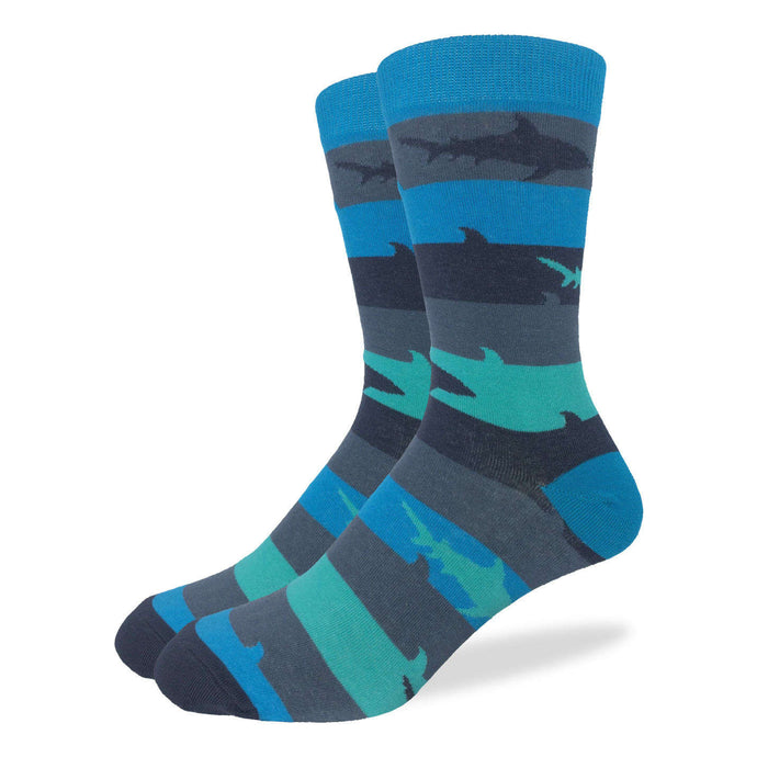 Fun men's crew socks with shark sharks week stripe stripes striped