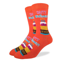 Load image into Gallery viewer, Fun men's crew socks with Happy Birthday