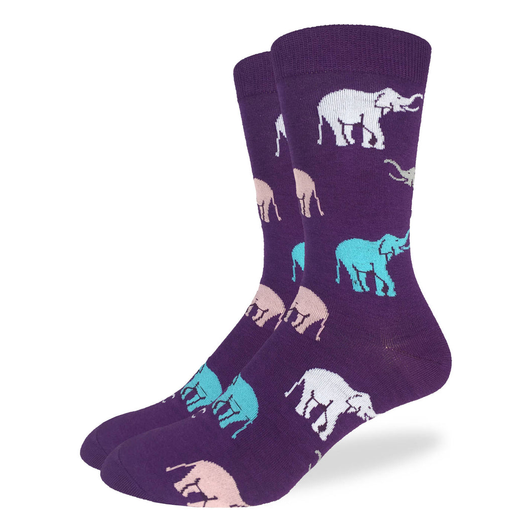 Fun men's crew socks with elephant elephants