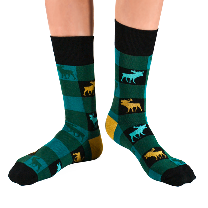 Fun men's crew socks with moose