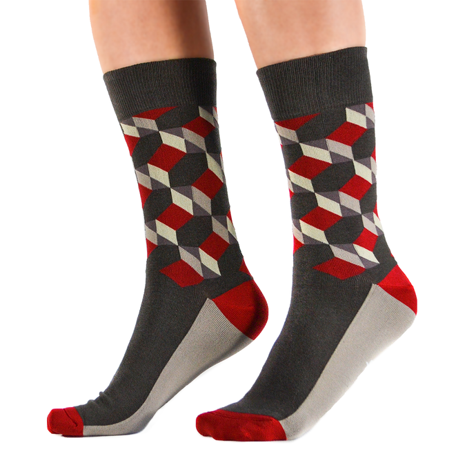 Fun men's crew socks with hexagon pattern