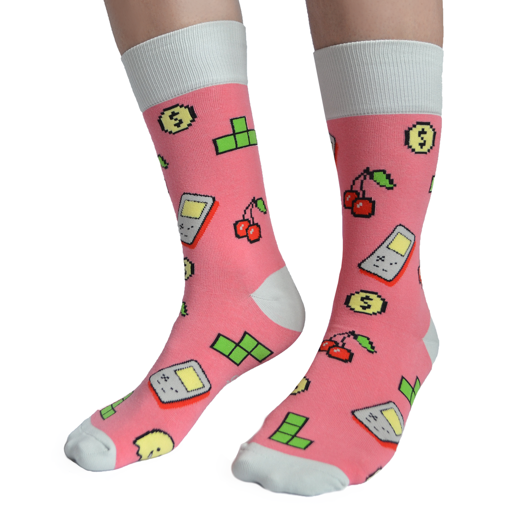 Fun men's crew socks with video games