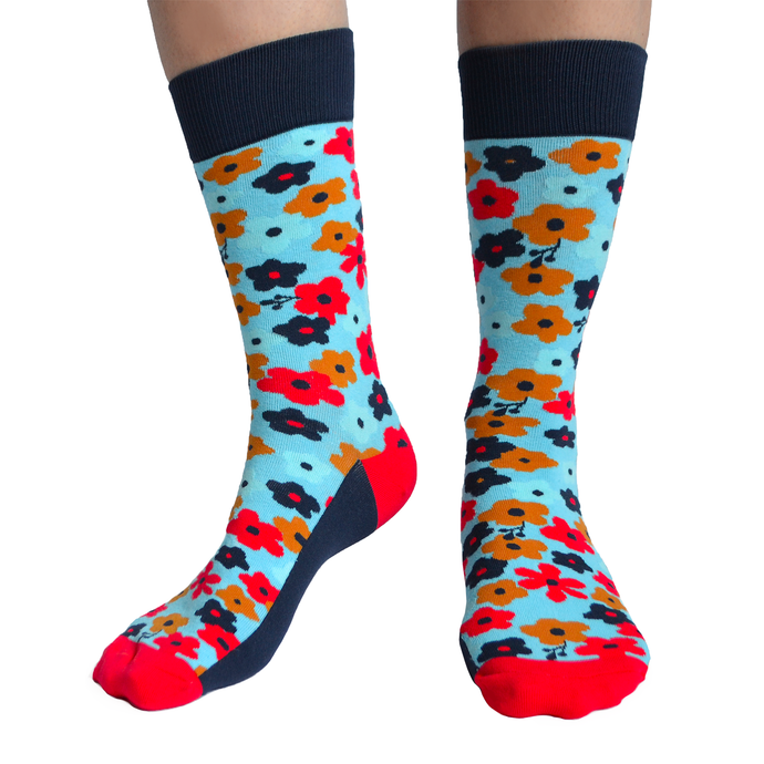 Fun men's crew socks with flowers