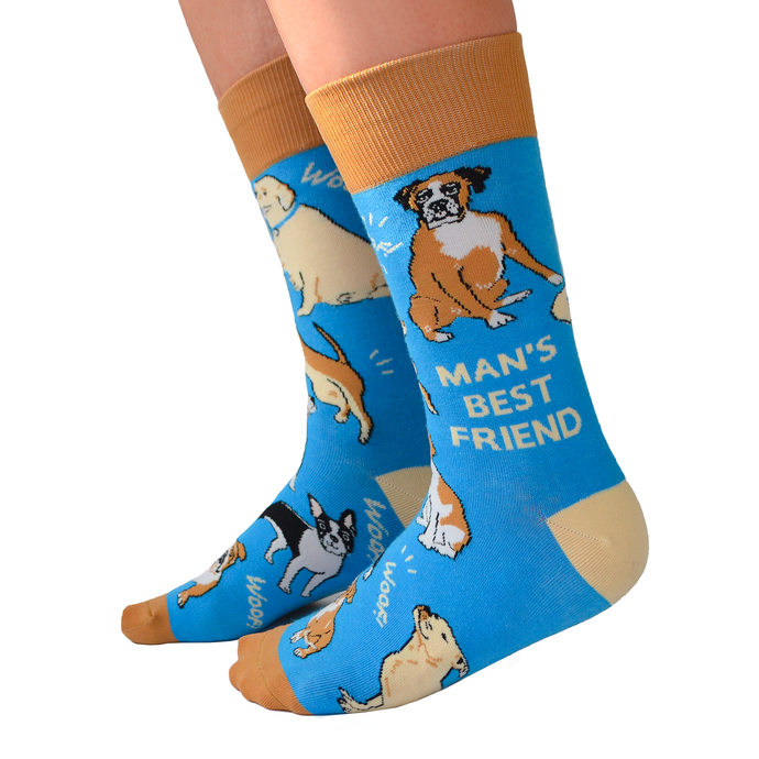 Fun men's crew socks with Dog