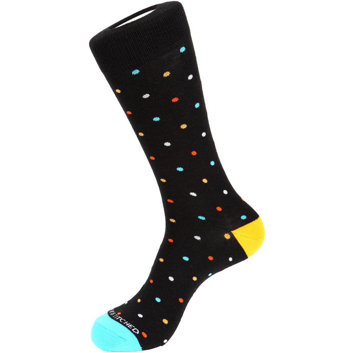Fun men's crew socks with dot dots dotted