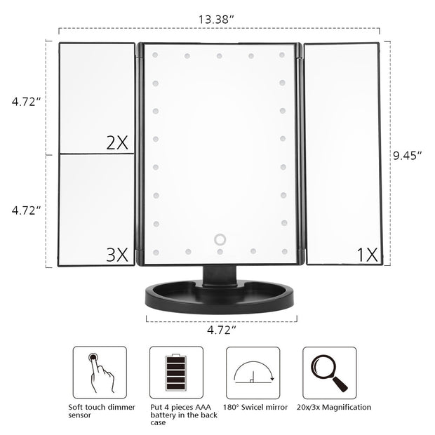 Touch Screen 22 Light Makeup Mirror