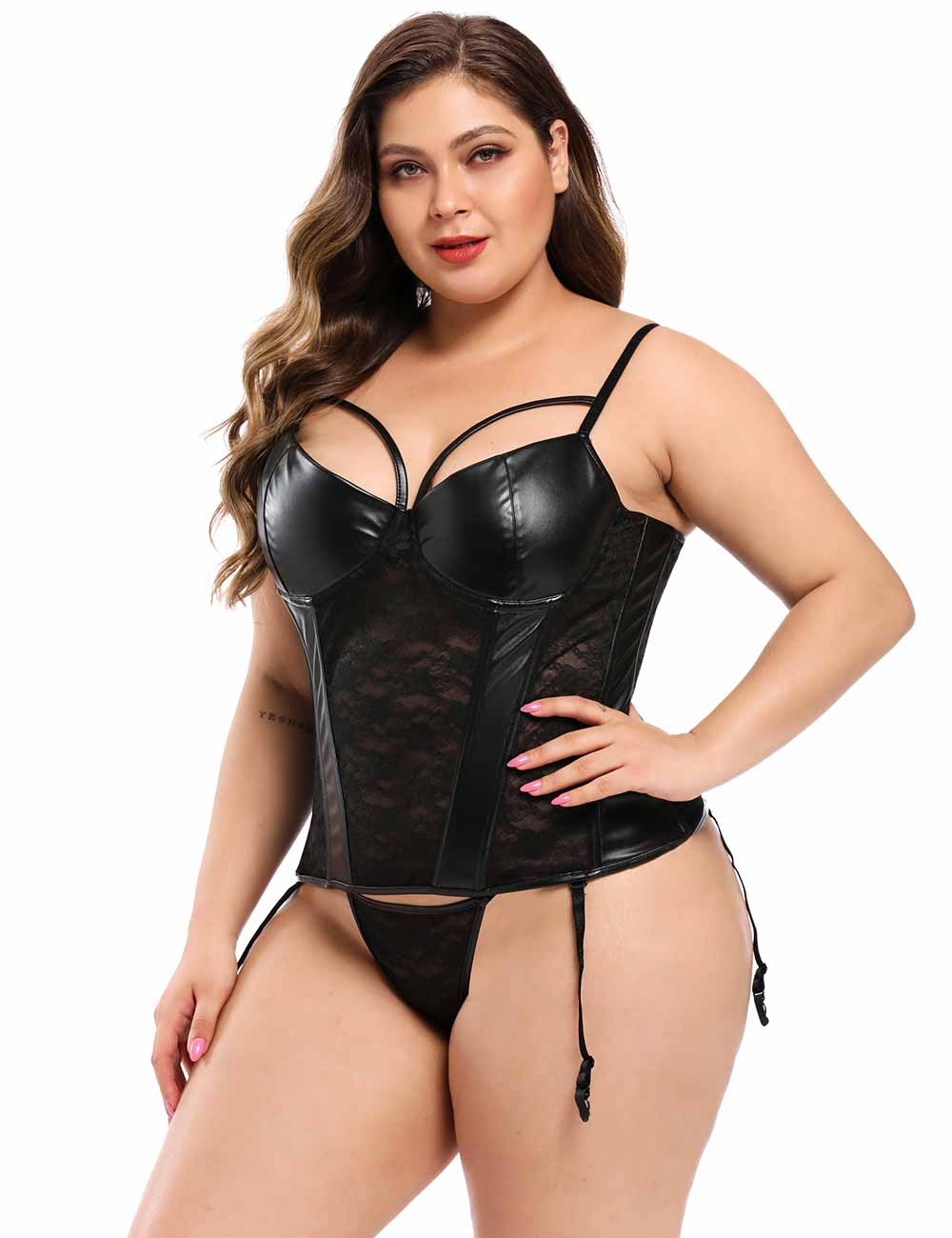 Plus Size Black Lace Leather Stitching Sexy Corset