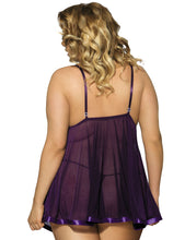 Load image into Gallery viewer, Purple Plus Size Transparent Floral Bra Babydoll