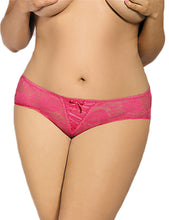 Load image into Gallery viewer, Plus Size Floral Lace Pink Strappy Open Crotch Panty