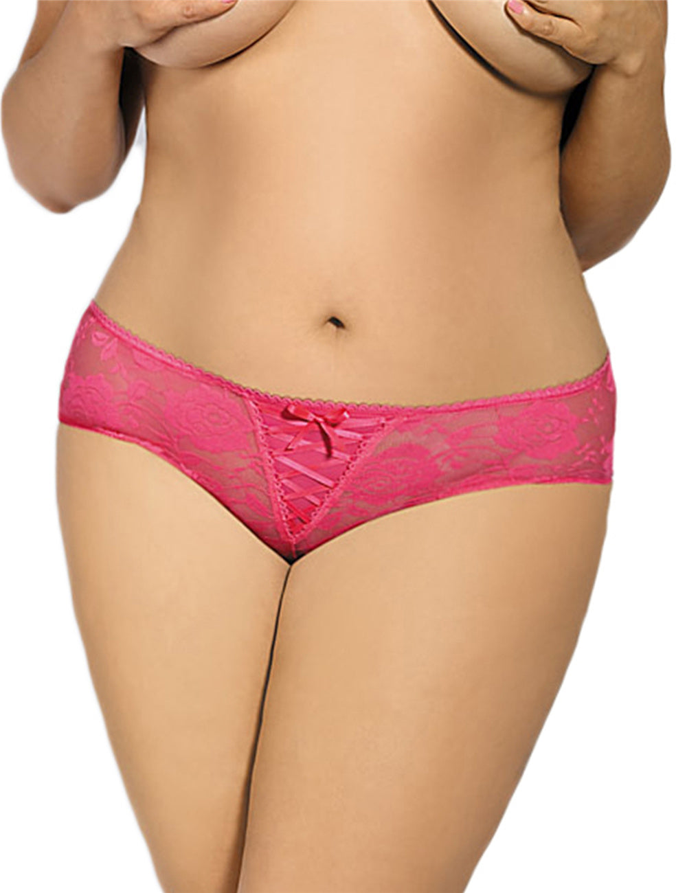 Plus Size Floral Lace Pink Strappy Open Crotch Panty