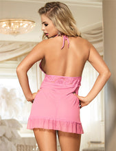 Load image into Gallery viewer, Pink Backless Halter Sexy Babydoll