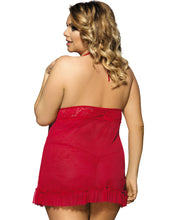 Load image into Gallery viewer, Red Lace Patchwork Halter Plus Size Babydoll Dress