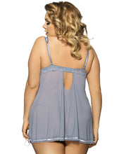 Load image into Gallery viewer, Plus Size Grey Babydoll With Lace Trim