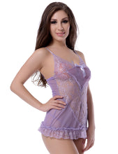 Load image into Gallery viewer, Lace Light Purple Flossy Lingerie Set