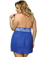Load image into Gallery viewer, Plus Size Floral Halter Blue Babydoll