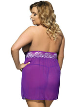 Load image into Gallery viewer, Floral Halter Purple Plus Size Babydoll