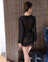 Load image into Gallery viewer, Black Sexy Sheer Lace Trim Robe With Belts