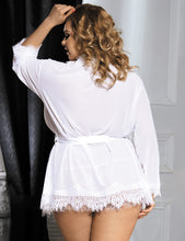 Load image into Gallery viewer, Plus Size White Lace Trim Robe With Thong