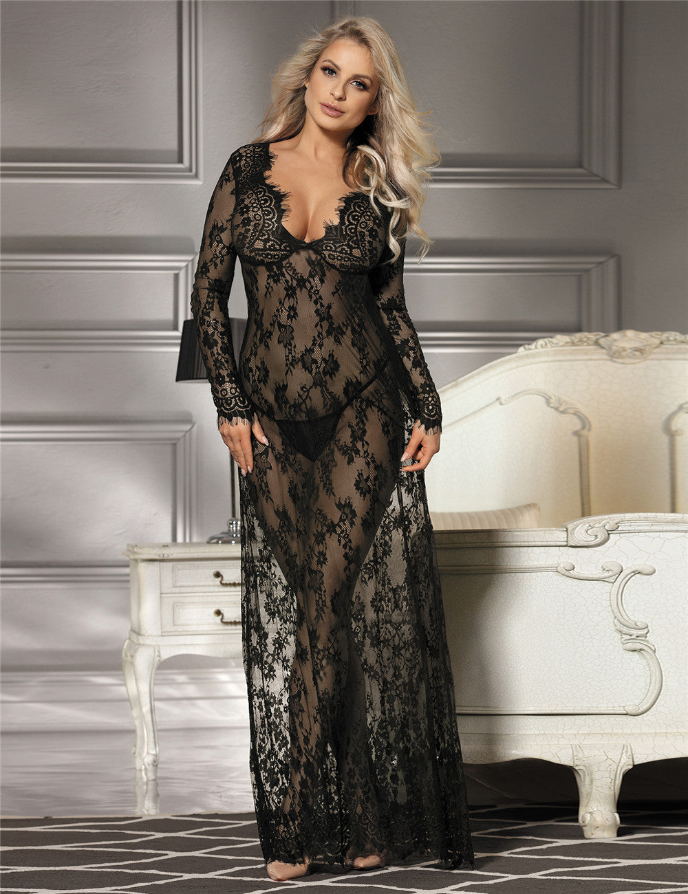 Delicate Black Lace Long Sleepwear Gown