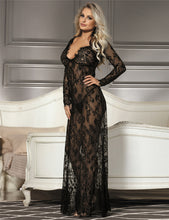 Load image into Gallery viewer, Delicate Black Lace Long Sleepwear Gown