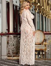 Load image into Gallery viewer, Plus Size White Sheer Lace Kaftan Robe with Thong