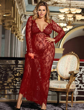 Load image into Gallery viewer, Plus Size Wine Red Delicate Lace Long Sleepwear Gown