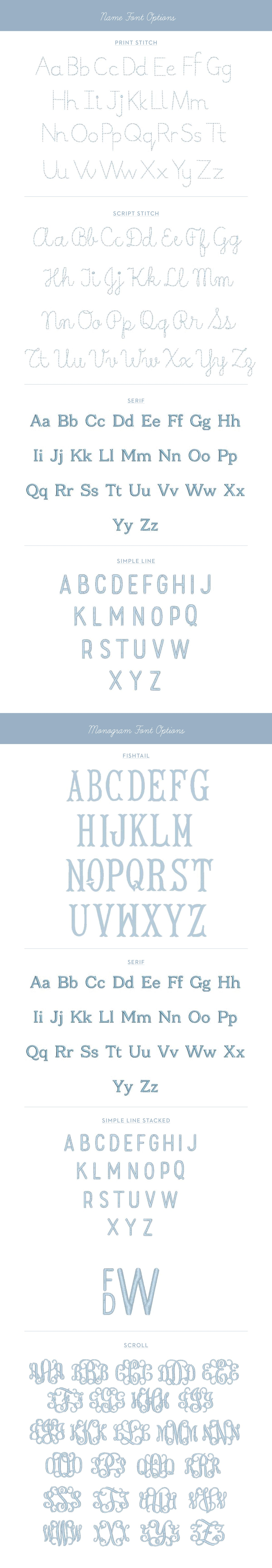 name and monogram fonts