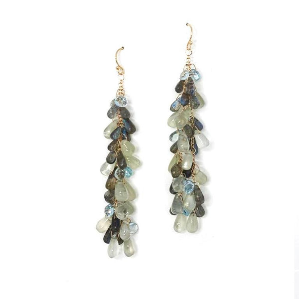 Labradorite, Moonstone & Blue Topaz Drop Earrings