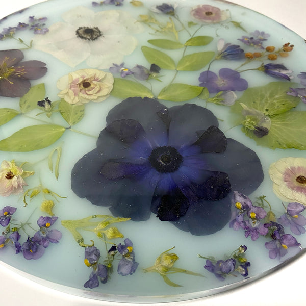 "11"" light Blue Flower Tray"