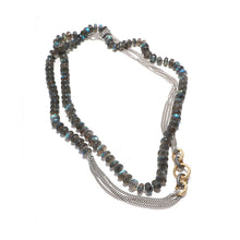 Load image into Gallery viewer, Labradorite & Pave Diamond Link Chain necklace