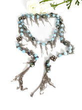 Load image into Gallery viewer, Aquamarine and Tahitian Pearl Fringe Necklace with Pave Diamond Beads