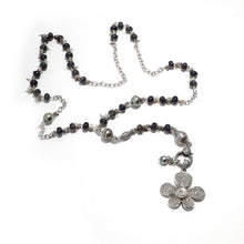 Load image into Gallery viewer, Tahitian Pearl and Iolite Chain Necklace with a Pave Diamond Flower Pendant