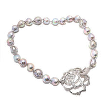 Load image into Gallery viewer, Fresh Water Pearl with pave diamond encrusted flower