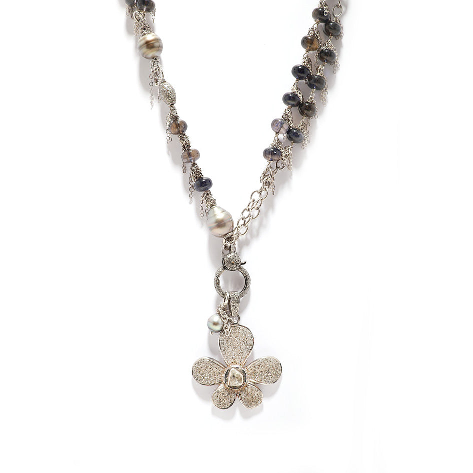 Tahitian Pearl and Iolite Chain Necklace with a Pave Diamond Flower Pendant