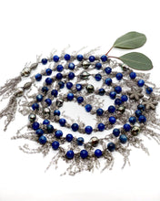 Load image into Gallery viewer, Kyanite & Pave Diamond Bead Sterling Silver Chain Long Necklace