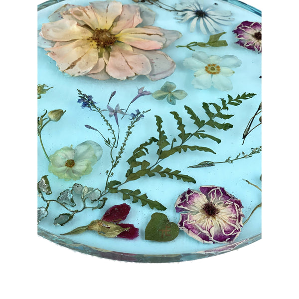 "11"" Aquamarine Flower Tray"