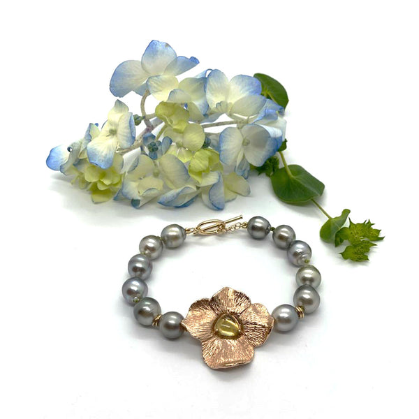 Tahitian Pearl Bracelet With Rose Gold & Tourmaline Flower_ Tanya E Designs