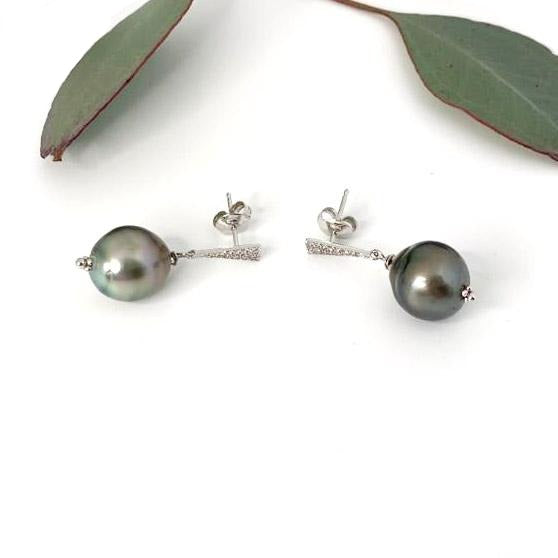 Tahitian Pearl & Diamond Stud Earrings