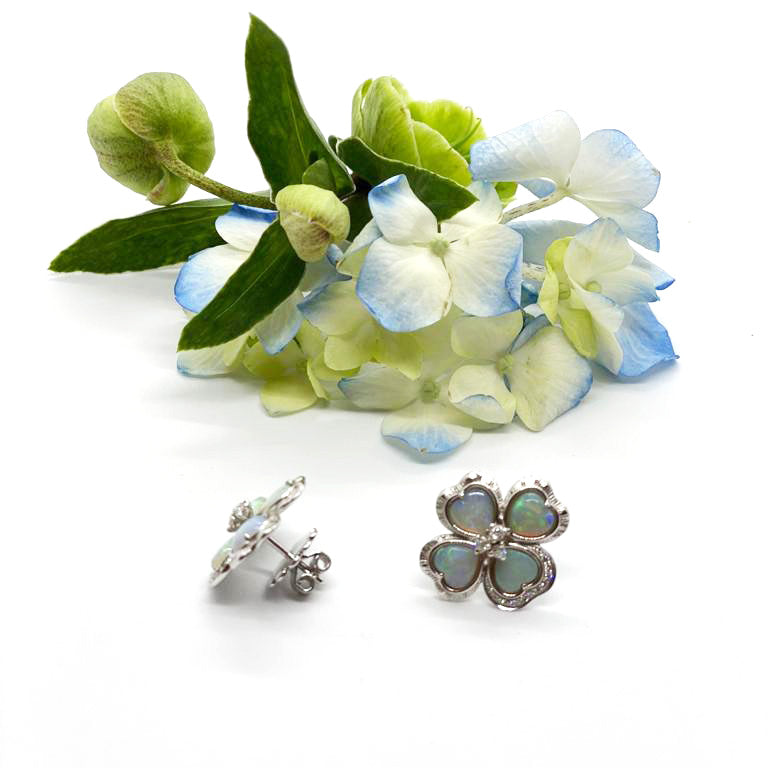 Australian Opal Flower Earrings