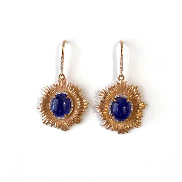 Tanzanite  Earrings with Diamonds