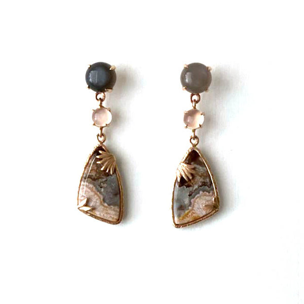 Crazy Lace Agate & Moonstone Drop Earrings