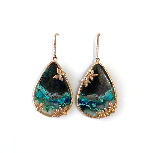 14k Rose Gold Chrysocolla Teardrop Earring
