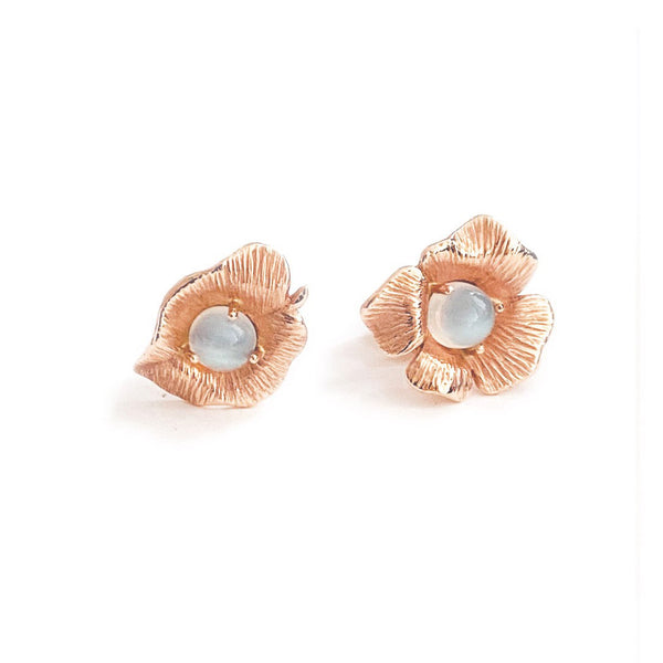 Moonstone & Rose Gold Asymmetrical Studs