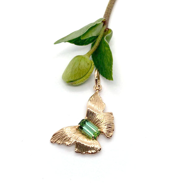 Rose Gold & Emerald Butterfly Pendant