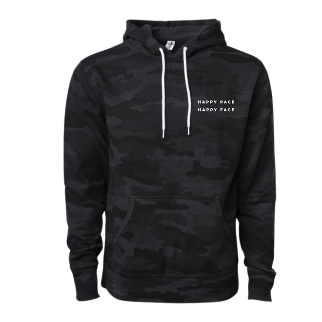 Be ready for that run with this black camo hoodie. We made this hoodie to help you warm up and cool down. It is also the perfect gear to wear from workout to brunch and everyday.