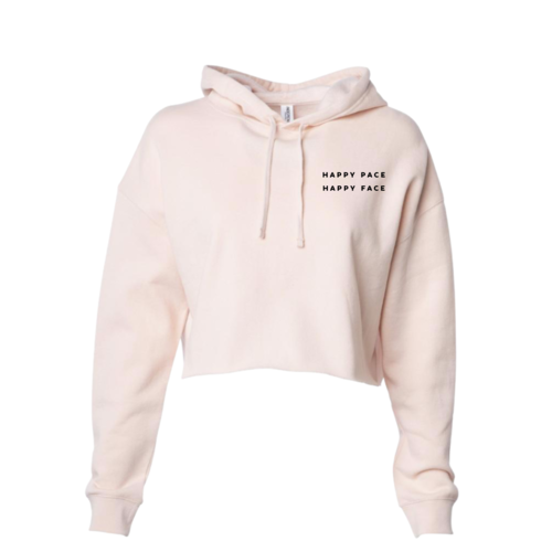 Blush Happy Pace Happy Face Cropped Hoodie