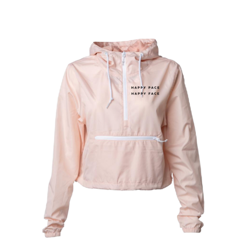 Blush Cropped Happy Pace Happy Face Windbreaker