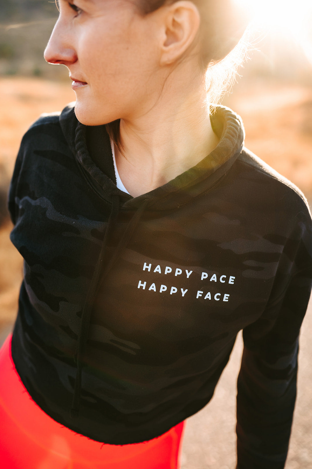 Camo Happy Pace Happy Face Cropped Hoodie